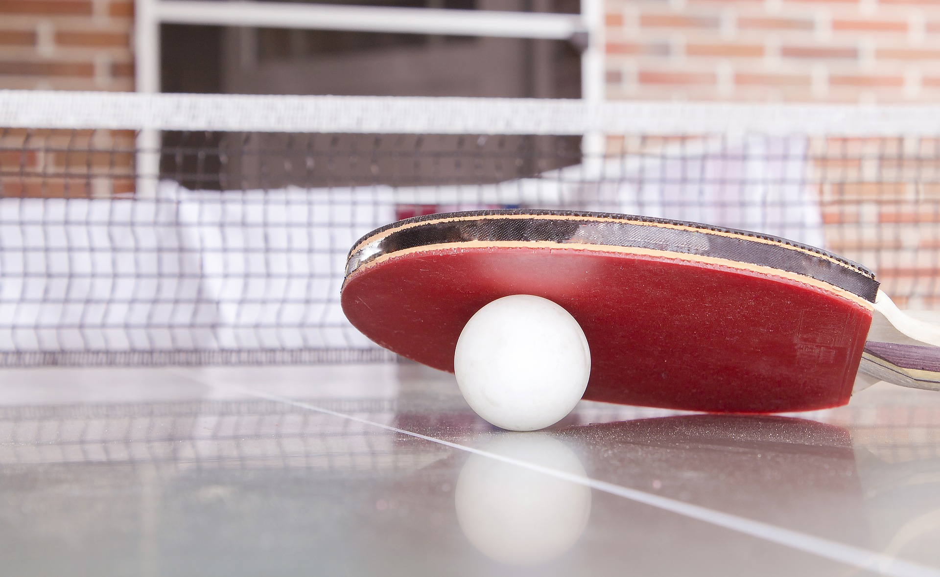 Ingolf Derkow Tischtennis Schläger, Ball und Netz