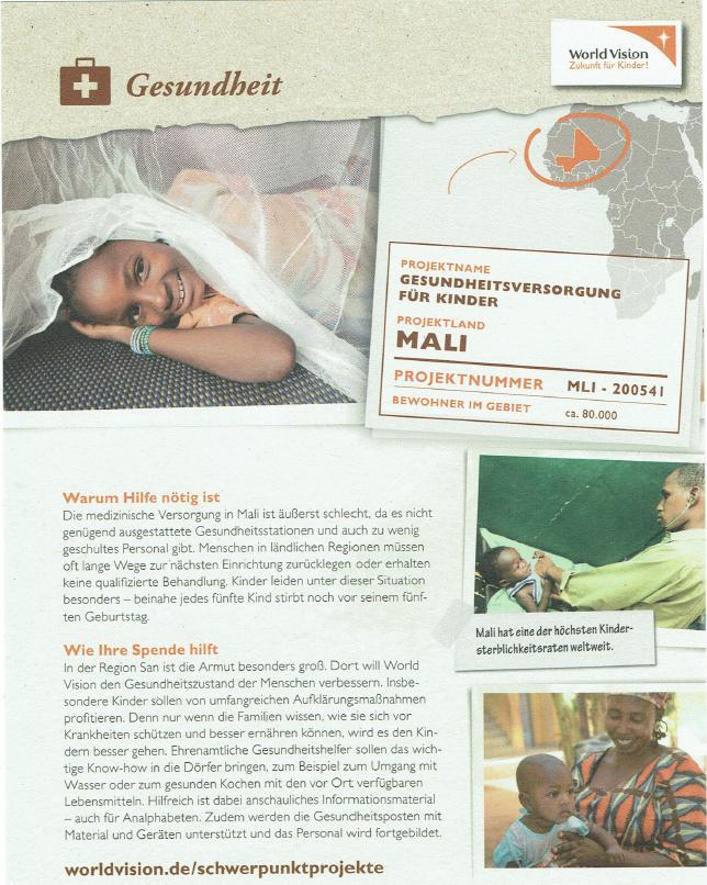 World Vision Flyer_Gesundheitsversorgung für Kinder in Mali
