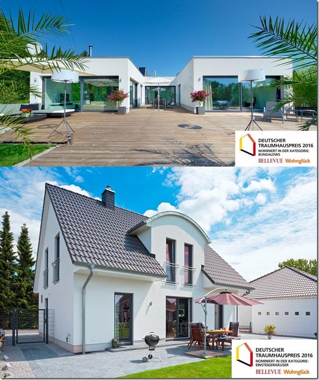 Für den Deutschen Traumhauspreis 2016 nominiert -  Der individuell geplante U-Bungalow und das Heinz von Heiden-Familienhaus M52