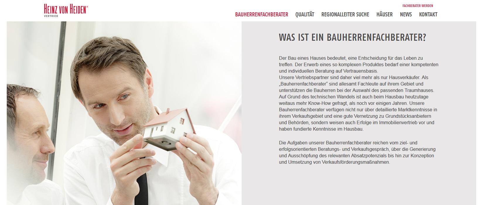 Bauherrenfachberater.de - Heinz von Heiden geht mit neuer Vertriebsplattform online